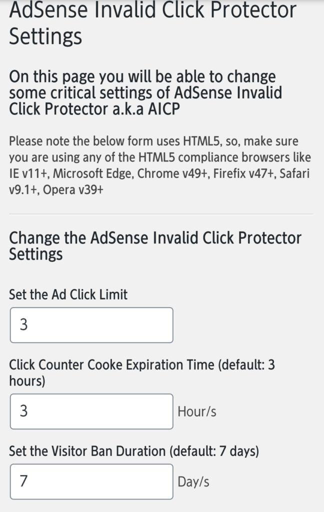 Adsense Invalid Click Protectorの設定ページ